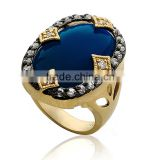 YCR7028 Antique Style Oval Shaped Blue Stone 925 Sterling Silver Ring Jewelry with Gold Plated