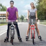 Newest Model Four wheel Roller Skating Shoes bike Folding Four wheel Skating Bike with Roller Skating Shoes For Adult