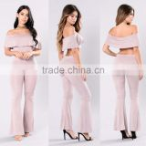 Bundle Clothing Manufacturer Off Shoulder Cropped Top And Flared Wide Leg Ruffle Pants two piece