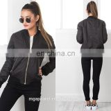 China clothing manufacturer custom women plain black bomber jacket