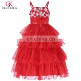 Grace Karin Spaghetti Straps Flower Girl Princess Bridesmaid Wedding Pageant Red Cake Dress CL010404-1