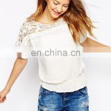 Fashion lady chiffon blouse wholesale, sexy lace tops and blouse woman summer blouse white