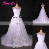 A line flower bodice and skirt tulle wedding dress real sample