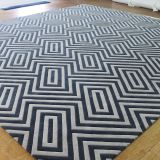 Black And White Striped Hand Tufted Carpet