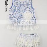 Baby girl boutique clothing sets floral lace fabric tank and bloomers                                                                                                         Supplier's Choice