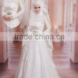 2015 High Quality Beautiful Long Sleeve Muslim Wedding Dress Lace Hijab Dress