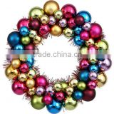 New design 12inch 24 inch 36 inch colorful christmas ball wreath