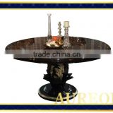 AK-5039 2015 China Wholesale Custom Glass Top Wood Leg Dining Table