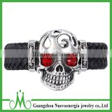 Stainless steel skull bracelet jewelry wholesale leather skull bracelet with CZ red eyes