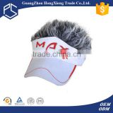 China Guangzhou red and white visor cap with fake hair