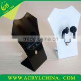 manufaturer direct sale white acrylic earphone holder with L-shape, black perspex earphone rack with 55*50*135mm