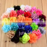 Francy Baby Kids Hair Accessories 30Colors Mini 6cm Craft Chiffon Fabric Flower with Leaf -handmade artificial decorative flower