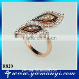 Special leaf shape ring rhinestone rose gold charm ring R820                                                                                                         Supplier's Choice