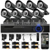 8CH CCTV System Camera DVR Kit Indoor Mini Dome And 1000TVK Outdoor IR Camera IR Night Vision CCTV Kit