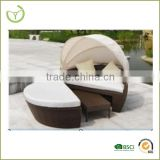 Outdoor rattan bed outdoor swing- rattan moon sofa bed with canopy/2015 new product