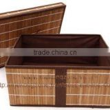 Foldable laundry hamper, storage basket made from bamboo and cotton