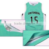 100 polyester dri fit cool design basketball jersey green color