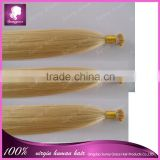 Hot selling 100s 16''~24'' Keratin Stick tip hair extension I tip hair Blonde #613 Silk Straight Brazilian virgin hair extension