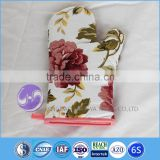 Full Printing Flower Kitchen Slubbed fabric cotton funny oven glove                                                                         Quality Choice