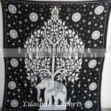 522-B Cotton Black & white Indian Tapestry Bedspread Bed cover Cubre cama algodon coton tenture celtique inde algadon colcha