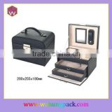 Custom Double Drawers Glass Mirror Pakaging Box & Black Packaging Jewelry Box Key Lock