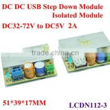 Isolated DC DC Step Down converter usb charger pcb board dc 32-72v 48V 42V 36V to 5v 2A Special for Vechile