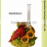 Garden Robin Bird with Sunflower Solar Light Rain Gauge