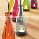 2015 New design glass wine bottle candle holders