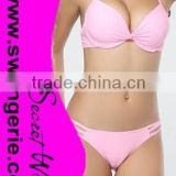 Wrinkle Pushed-Up Padded Bikini with Hollow-Out Panty Sexy Fashion Modern Bikini Swimwear NA96-pink