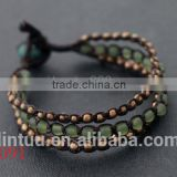 Factory cheap beaded jade and thailand brass jewelry bracelet