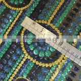 embroidered circle sequin fabric for bag