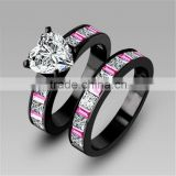 Glitter Big Heart Zircon Stone Main Stone Mixed Colors Micro Pave Setting Double Band Rings For Couples