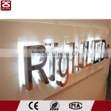 outdoor led backlit signage polished stainless steel channel letter sign