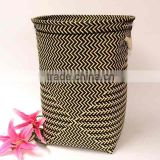 Household essentials laundry sorter bamboo, bamboo laundry hamper with lid in dark brown color