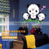 Creative kids room panda family wall clock stickers bedroom living room nursery decoration removable wallpaper SA-1-018