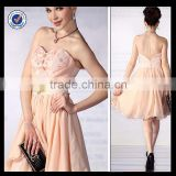 C0052 Elegant knee length short chiffon cocktail dresses champagne colored open low back cocktail dress