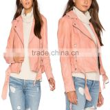High quality tops zipper up pink cropped moto leather jacket for girls