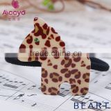 Wholesale acetate animal covered elastic hair bands girls ruffle fabric crystal hair scrunchie