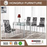 2016 modern and cheap function dining table,glass top and frame metal chrome,fashion living room set