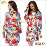Ecoach wholesale Fashion Sexy Long Sleeve satin fabric women Floral print sleepwear robe