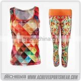 wholesale athletic fitness wear sublimated slim fit yoga leggings custom active crop bra tops