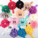 2017 new elastic headband for small baby girls chiffon flower headband