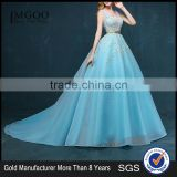 MGOO New Coming Popular Pageant Dress For Women Sky Blue Sheer V Neck Embroidery Floral Dress Evening Long 2260