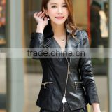 New Black Women Fashion Slim Biker Motorcycle PU Soft Leather Zipper Jacket Coat Faux Leather Jacket face leather jacket
