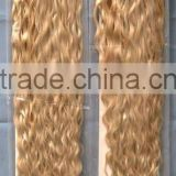 Human hair in new york/chinese remy human hair weaving extension/blonde curly human hair