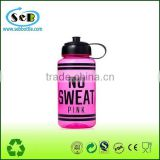 USA Made 1000ml 1 liter Transparent Sports Bottle With Push And Pull Cap - BPA/BPS-free, FDA compliant and comes with your logo