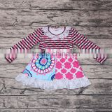 High Quanlity Popular Long Sleeve Flower Dress for Little Girls Smocked Design Kids Party Wear Princess Skirts Dresses Wholesale