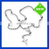 2014 New Metal Men Beads Neck Chain with Cross Charm Pendant TSSN327#