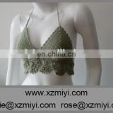 100% Cotton Green Crochet Halter Bikini Top