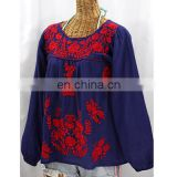 Women's Cotton Blue Blouse Kaftan With Red Flower Designer Embroidery/Elegant Kaftan & Tunic Tops tunic ladies 2017 new blouse